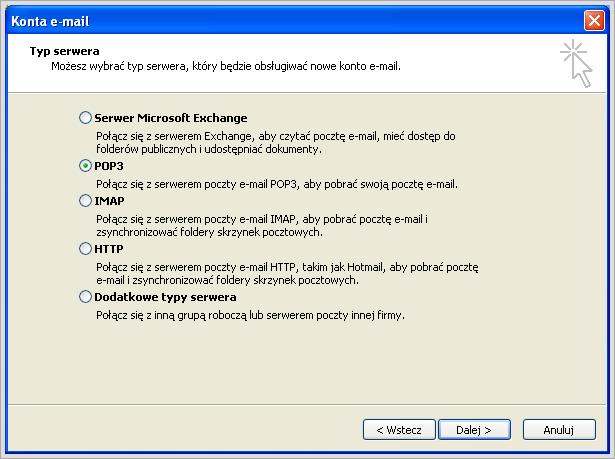 Microsoft Outlook 2003 - konfiguracja konta pocztowego