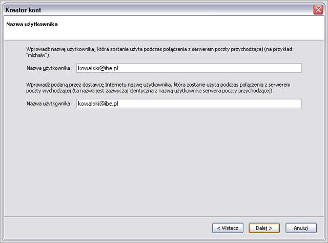 Mozilla Thunderbird - konfiguracja konta pocztowego